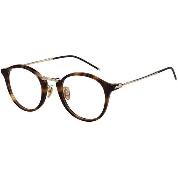 Brown glaze tortoise plastic round glasses with gold metal rims and temples view 2