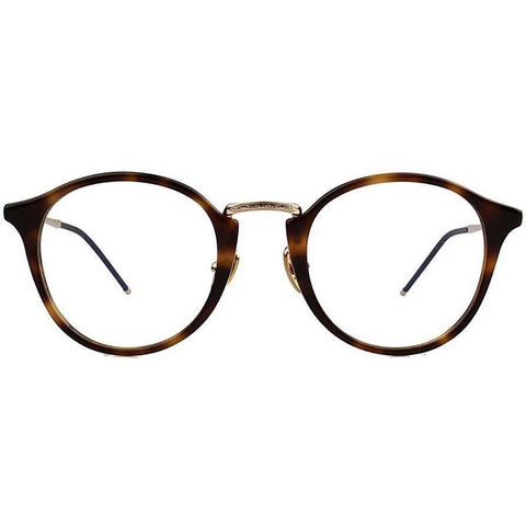Brown glaze tortoise plastic round glasses with gold metal rims and temples view 1