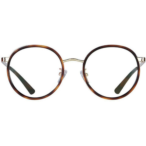 Over size round plastic tortoise glasses with gold rims and temples view 1