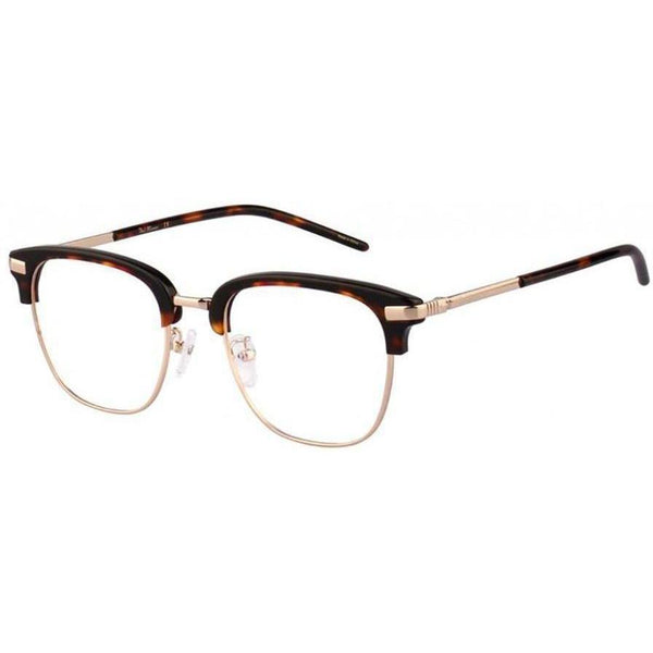 Large tortoise brow line eyeglasses with gold rims and temples view 2