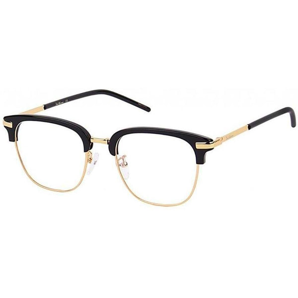 Large black brow line eyeglasses with gold rims and temples view 2