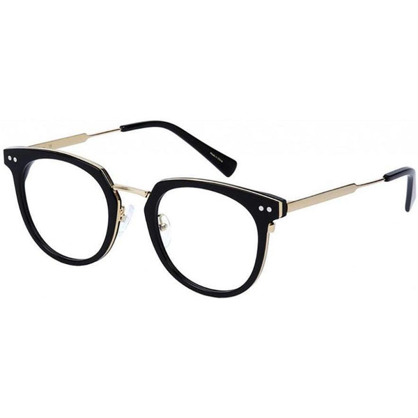 Black roundish plastic eyeglasses with gold rims and temples view 2