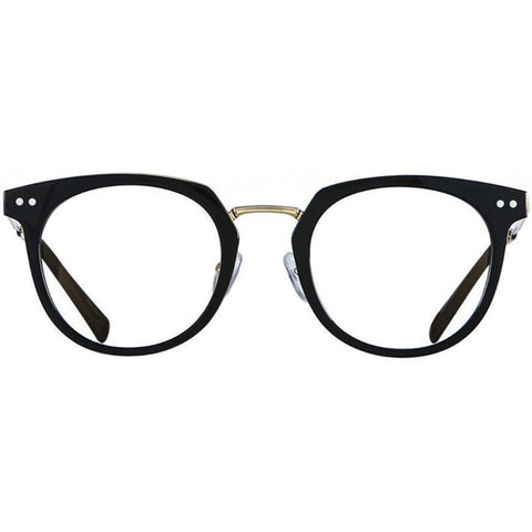 Black roundish plastic eyeglasses with gold rims and temples view 1