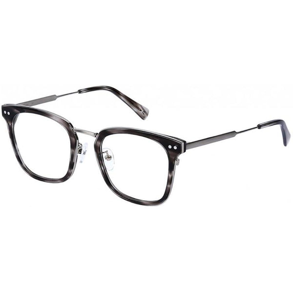 Over size grey tortoise square glasses with silver rims and temples view 2