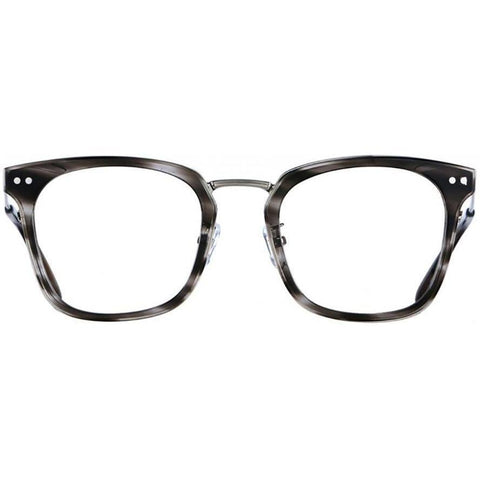 Over size grey tortoise square glasses with silver rims and temples view 1