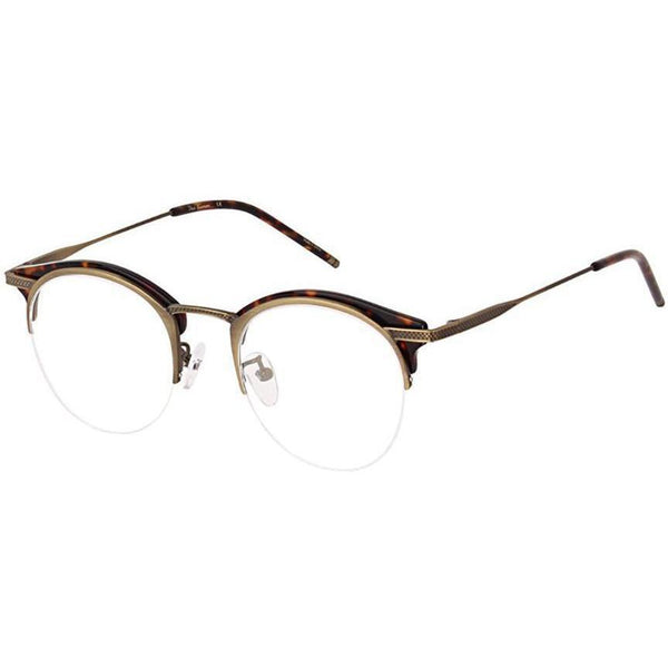 Tortoise and brass metal brow line half rim glasses view 2