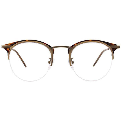 Tortoise and brass metal brow line half rim glasses view 1