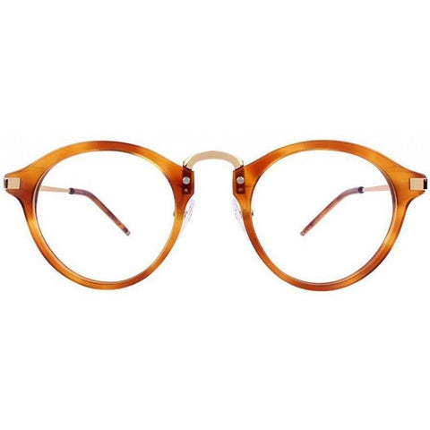 Small amber tortoise round glasses with gold rims and temples view 1