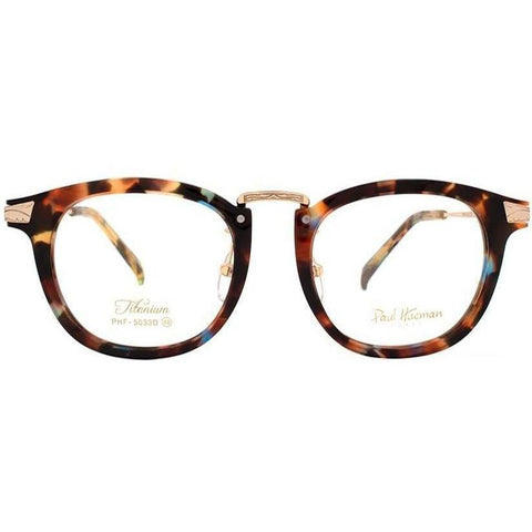 Rainbow tortoise thick framed plastic glasses with gold rims and temples view 1