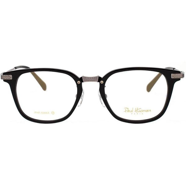 Black plastic square glasses with engraved silver rims and temples view 1