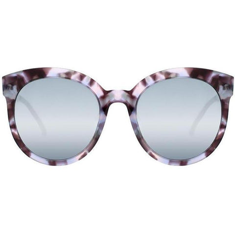 Over size sunglasses with shades of purple tortoise plastic sunglasses and mirror lenses view 1