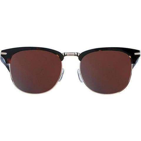 Tortoise brow line square sunglasses with brown lenses view 1