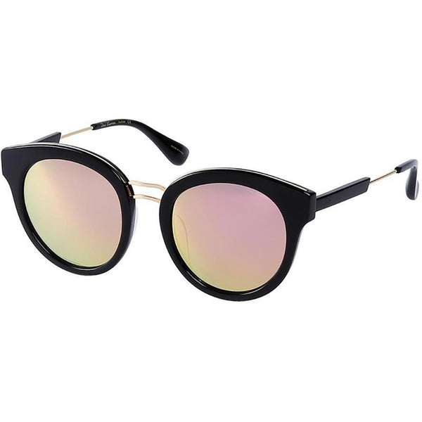 Black plastic sunglasses with double gold rims and mirror lenses view 2