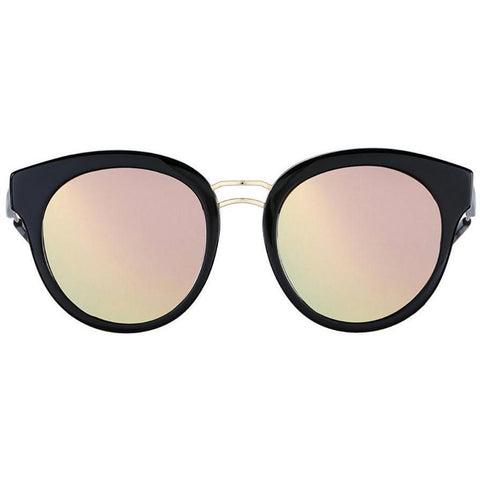 Black plastic sunglasses with double gold rims and mirror lenses view 1