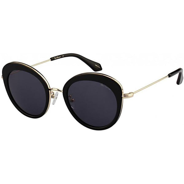 Black over sized cat eye sunglasses with black lenses and gold rims view 2