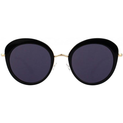 Black over sized cat eye sunglasses with black lenses and gold rims view 1