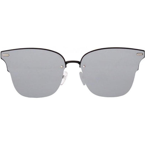 Monochrome squarish sunglasses with light gray lenses view 1