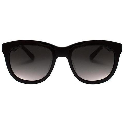 Classic plastic black sunglasses with thick black temples view 1