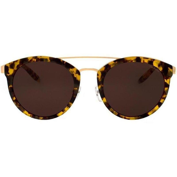 Yellow and brown camouflage patterned sunglasses with gold rims view 1