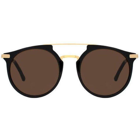 Brown round sunglasses connected by two gold rims on top view 1