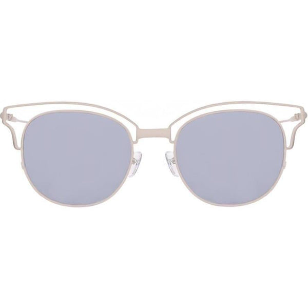 Squarish round sunglasses with translucent brow line bars on top and gray lenses view 1