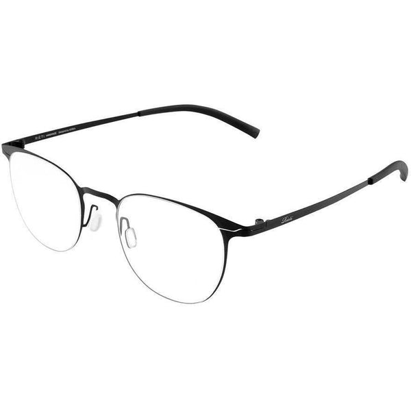 Thin framed black oval eyeglasses view 2