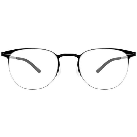 Thin framed black oval eyeglasses view 1