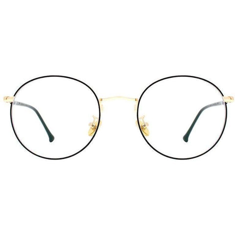 Black thin framed circle eyeglasses with gold rims and temples view 1