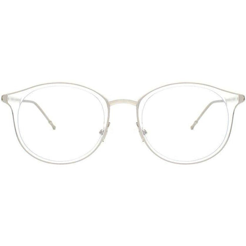 Delicate translucent plastic oval eyeglasses view 1