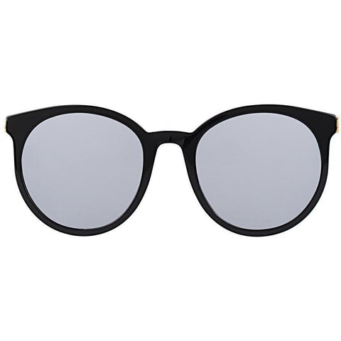 Oversize black plastic sunglasses with gray lenses view 1