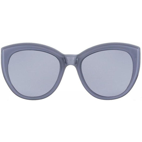 Oversize bluish gray cat eye sunglasses with gray lenses view 1