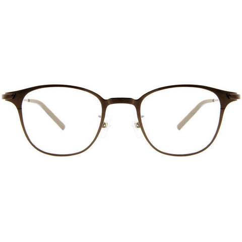 Delicate thin and brown framed eyeglasses view 1