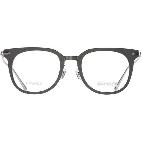 Gray squarish eyeglasses with silver rims and temples view 1