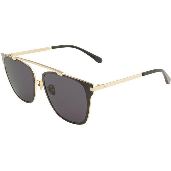 Oversize square sunglasses connected by gold rim on top view 2