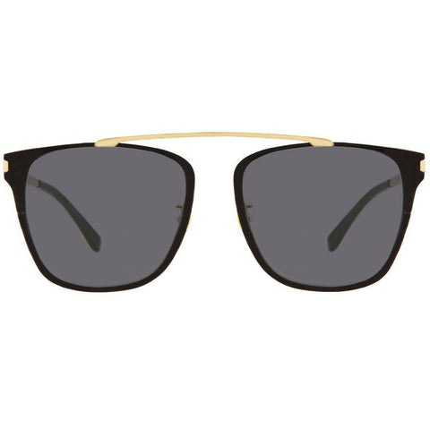 Oversize square sunglasses connected by gold rim on top view 1