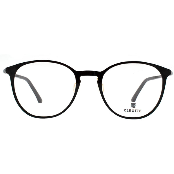 Large light weight black round eyeglasses view 1