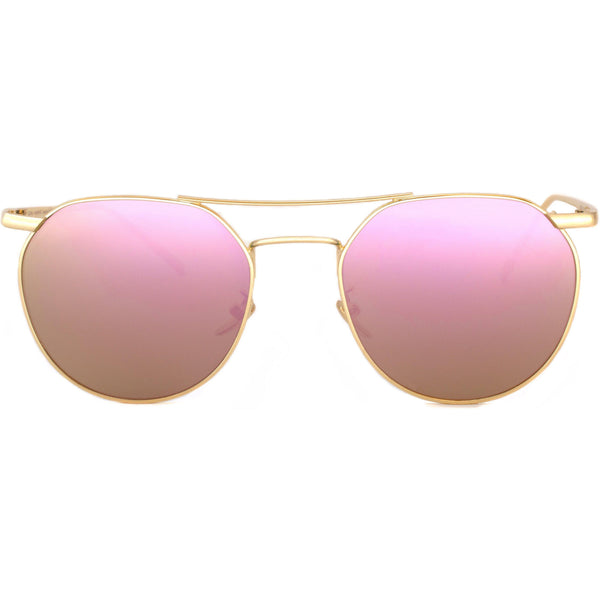 Sunglasses with thin gold rims and pink mirror lenses view 1