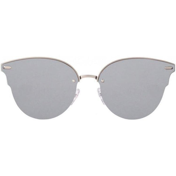 Monochrome cat-eye sunglasses with silver lenses view 1