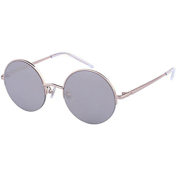 Thin and silver framed sunglasses with gray lenses view 2