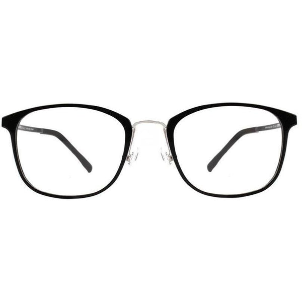 Black squarish plastic eyeglasses with gold rims view 1
