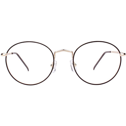 Thin black circle glasses with gold rims and temples view 1