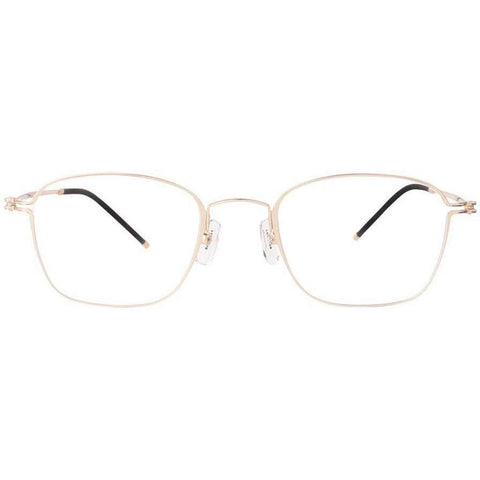 Delicate and simple thin gold framed square glasses view 1