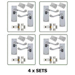 4 x PAIRS of Door Handles - Scroll Lever Latch Set in Chrome with fixings