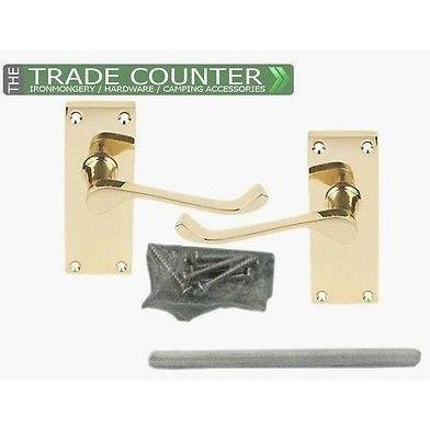 5 Internal Door Lever Latch Victorian Scroll Door Handles: Polished Brass