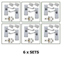 6 x Pairs of InternaDoor Handles - Scroll Lever Latch Set in Chrome with fixings