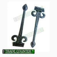 Tee Hinges - Black Cast Iron Fleur De Lys - Pair of 15""