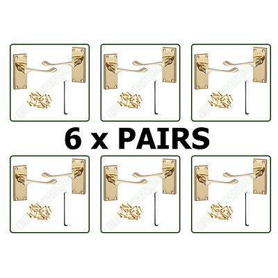 6 x Pairs of Internal Door Lever Latch Handles - Victorian Scroll - Brass Finish