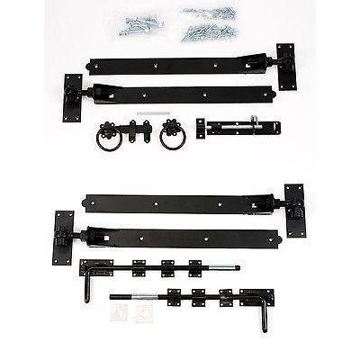 "Gate Hinge Set - Adjustable Black 24"" Hook & Band 