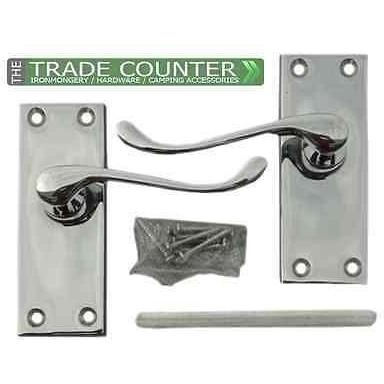 5 Pairs Internal Door Lever Latch Victorian Scroll Door Handles: Polished Chrome