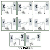 8 x Pairs of Door HandlesVictorian - Lever Latch Scroll - Chrome Finish